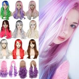 Fashion Pink Purple White Ombre Full Wig Cosplay Halloween P