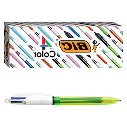 BIC 4-Color Fluo Ballpoint Pen, Medium/Bold Point , Assorted