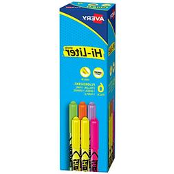 HI-LITER Fluorescent Pen Style Highlighter, Chisel Tip, 6/Se