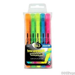 Bazic Gel Fluorescent Highlighters, Assorted Colors, Pack of
