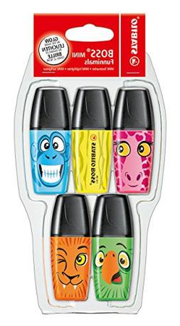 Highlighter - STABILO BOSS Mini Funimals Pack of 5 Assorted