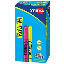 HI-LITER Highlighter, Pen-Style Chisel Tip, 20 Yellow/4 Pink