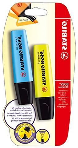 Highlighter - STABILO BOSS Original Yellow/Blue Pack of 2