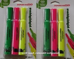 Office Depot Highlighters Assorted Flourescent Colors 6 pc C