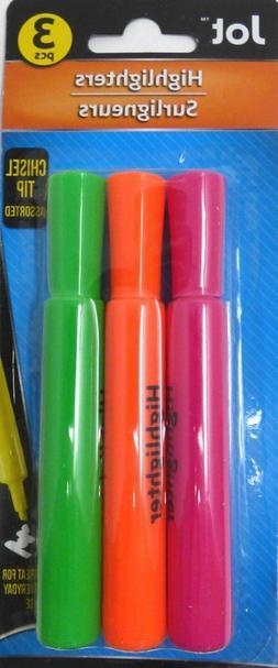 Jot Highlighters, Chisel Tip, 3 Count Pack ~ Pink, Orange, G