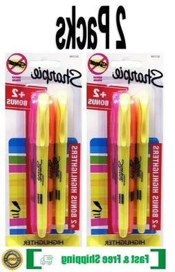 Sharpie Highlighters, Narrow Chisel Tip, 4 Count Pack ~ Pink