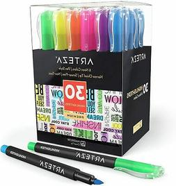 ARTEZA Highlighters, Narrow Chisel Tips, 6 Assorted Colors,