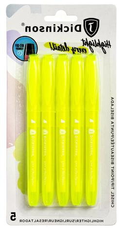J. Dickinson Bible Safe Highlighters, Fluorescent Yellow, 5