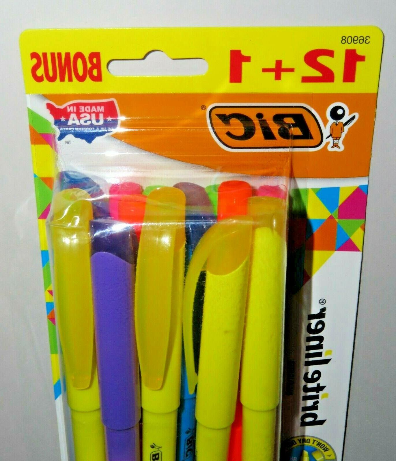 BIC 1 13 Liner Highlighter, Chisel Assorted New
