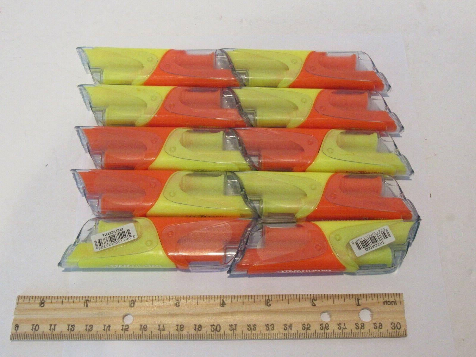 10 duo accent highlighter pens orange yellow