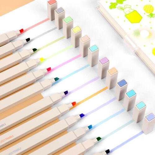 12 colors soft brush highlighter cute marker