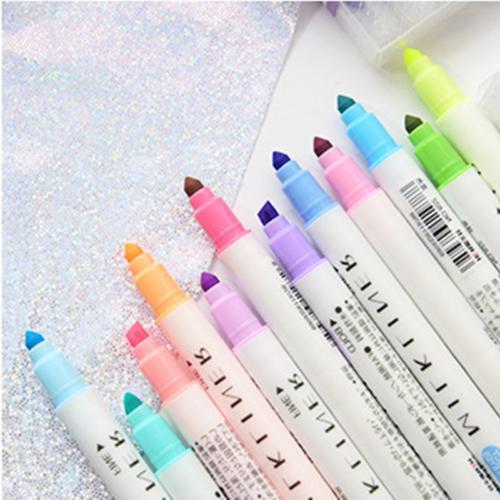 12PCS Dual-Headed Fluorescent Marker Pen Colors Stationery