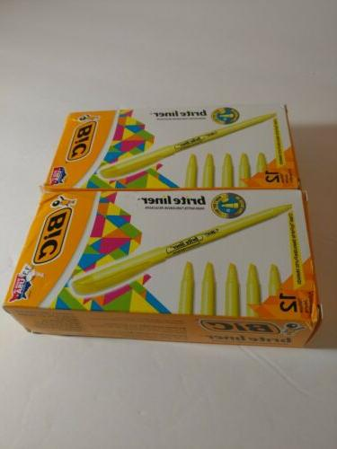 2-BIC Brite Highlighter, Chisel Tip, 12-Count NEW