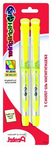 Pentel 24/7 Liquid Highlighter, Chisel Tip, Yellow Ink, 2 Pa