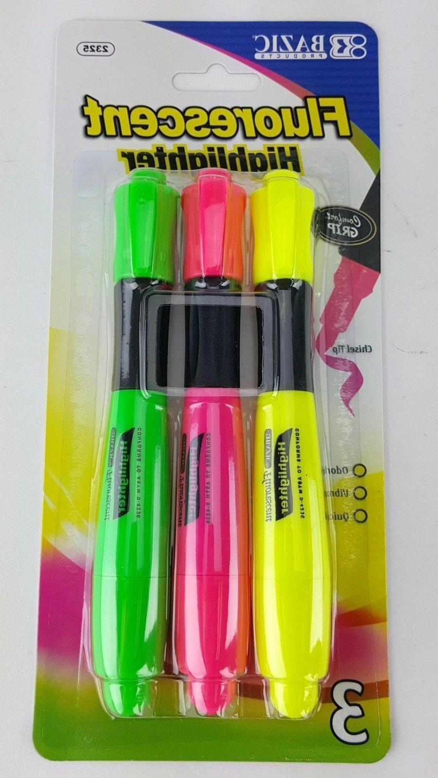 3 pack flourescent highlighter yellow green pink