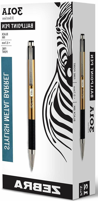 Zebra 301A Retractable Ballpoint Pen, 0.7mm, Gold Barrel, Bl