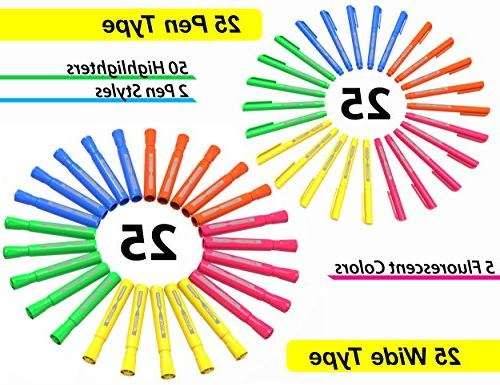 50 Tip Highlighters Markers Colors, Tank Pen Type Combo, Tabs, 5 Vivid Fluorescent Colors Home, Teachers, Bible