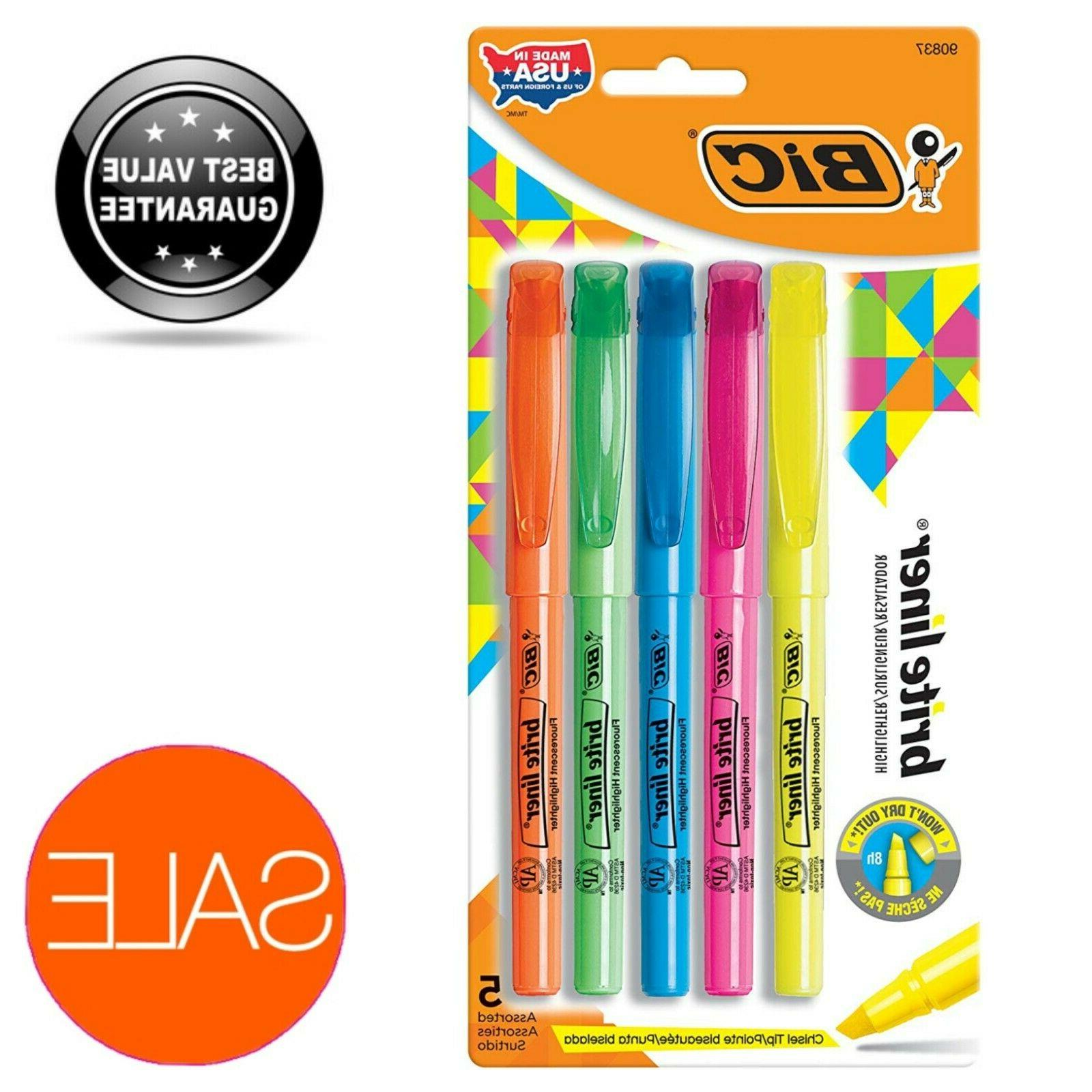 BIC 5x Super Bright Fluorescent Ink Liner Highlighter Assort
