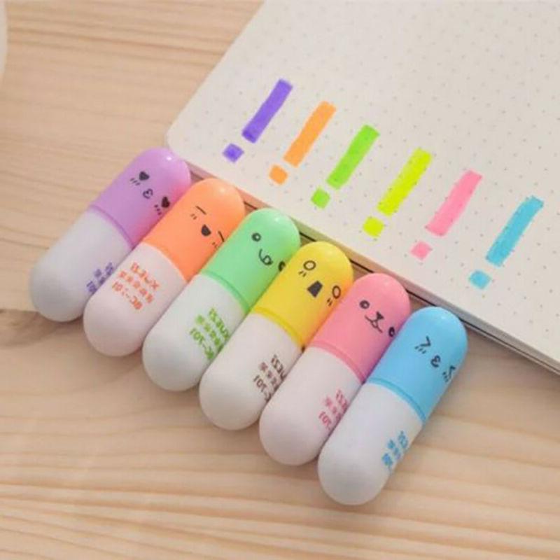 6Pcs/set Mini Pill shaped highlighter pens Graffiti marker p