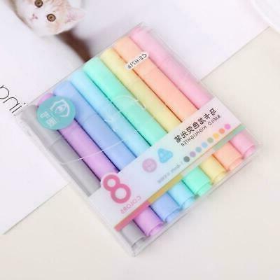 8pcs set creative fluorescent pen highlighter pencil