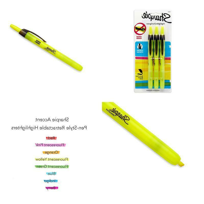 accent pen style retractable highlighter fluorescent yellow