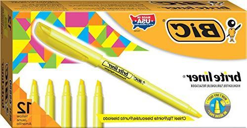 BICamp;reg; Brite Highlighter, Chisel Tip, Fluorescent Ink, 12 per