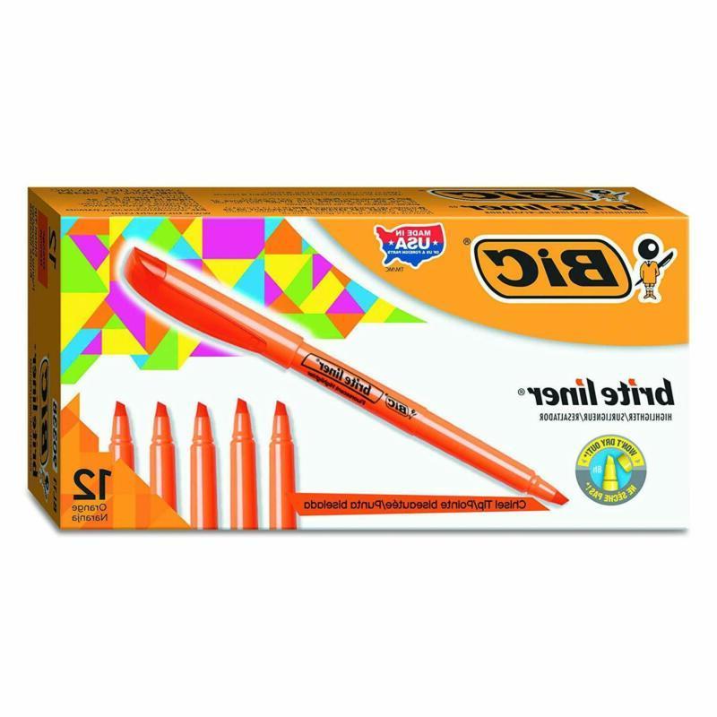 brite liner highlighter chisel tip orange 12