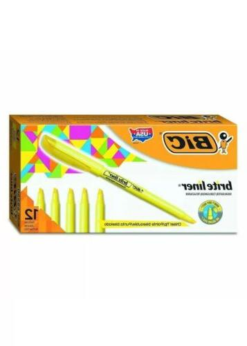 brite liner highlighter chisel tip yellow 12