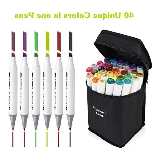 Tanmit Tips Art Permanent Marker Highlighter Pens Case for Drawing and Underlining