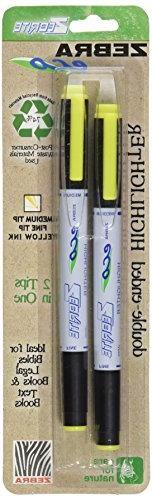 Zebra Eco Zebrite Double-Ended Highlighter, Yellow, Chisel a
