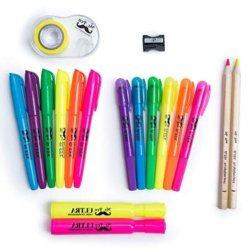 Mr. 18 Highlighter Set, Bible Highlighter Assorted Highlighter, 2 Pencil, Highlighter for Journaling, Tape