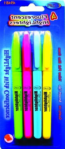 Ddi Highlighters - 4 Pack - Assorted Colors - Fine Tip