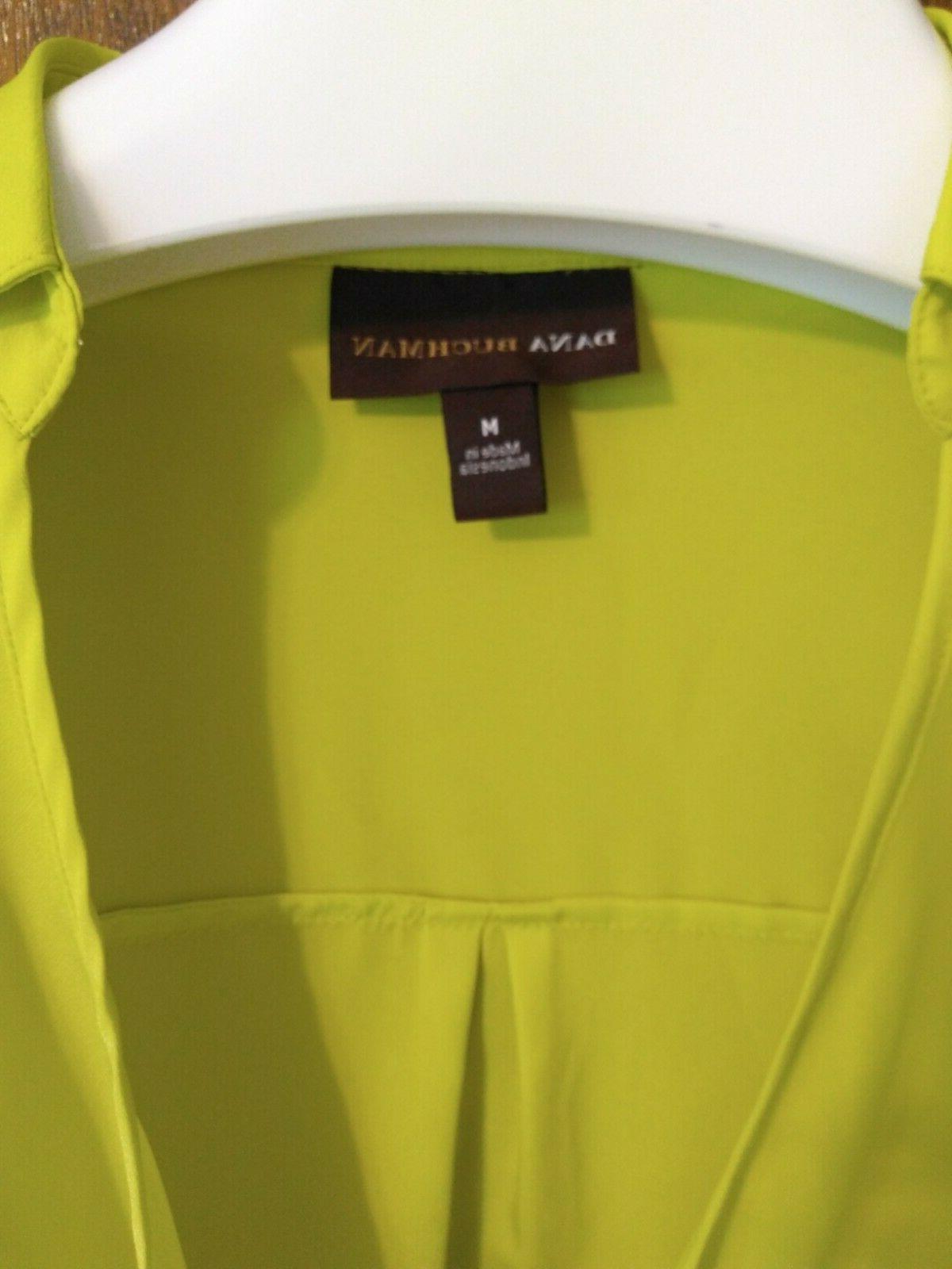Dana Neon Highlighter Yellow Two Piece Tank Blouse Cuffed