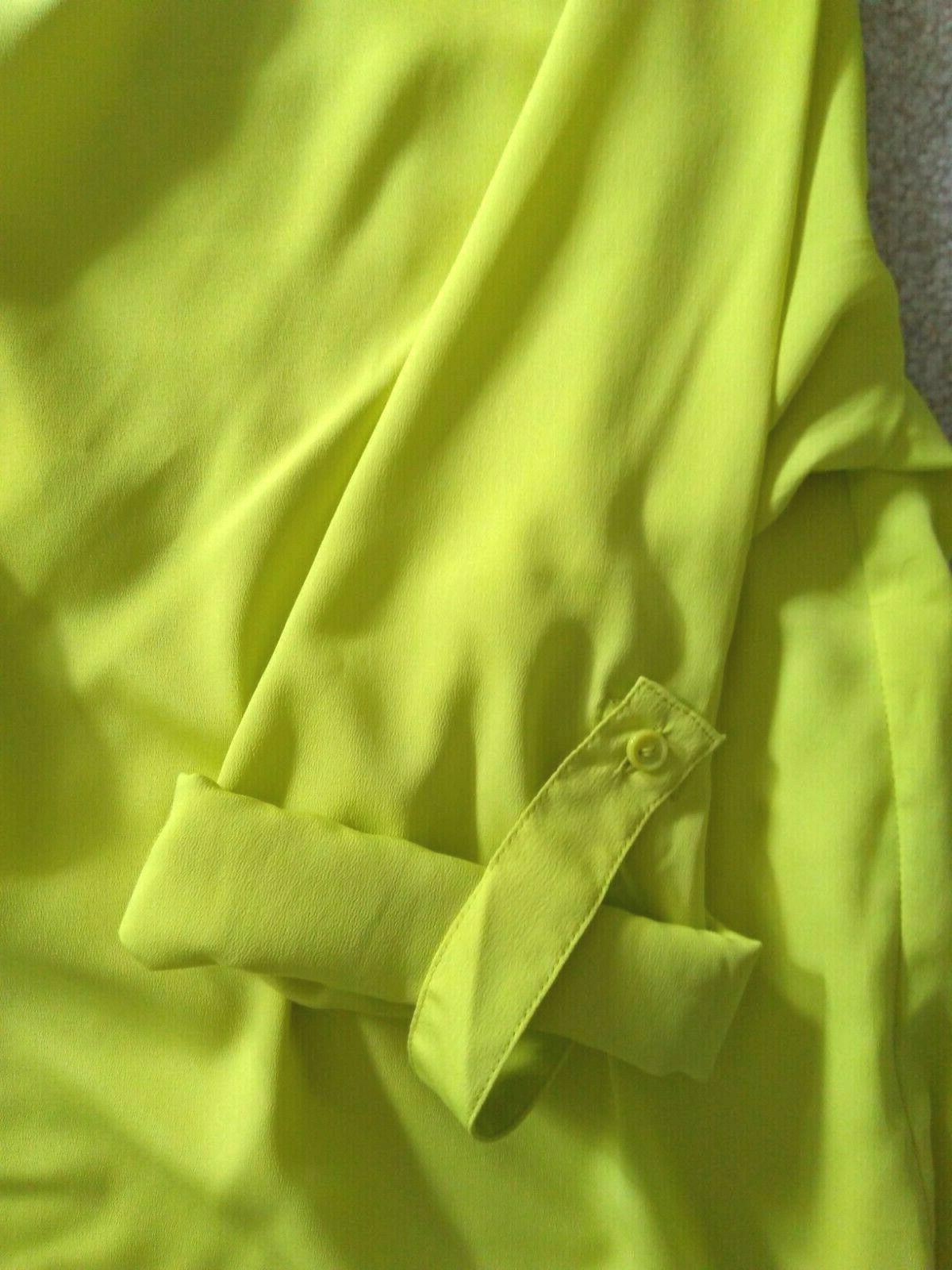 Dana Buchman Highlighter Yellow Tank Blouse Cuffed Long Sleeve