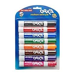 EXPO Low-Odor Dry-Erase Markers, Chisel Point, Assorted Colo