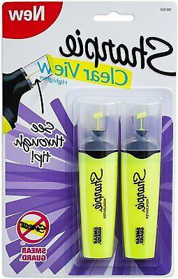 sharpie clear view chisel tip highlighters yellow