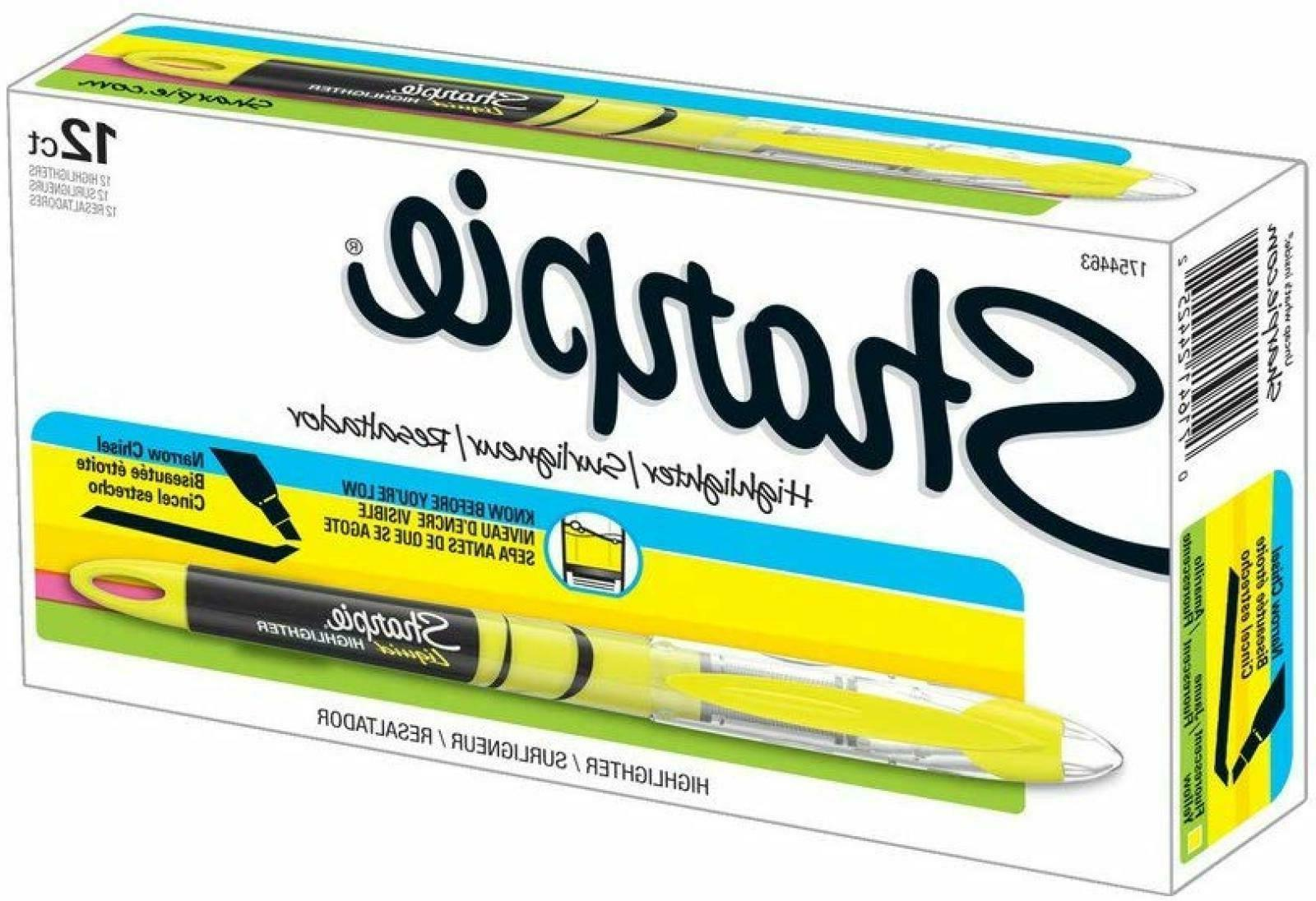 sharpie highlighters chisel tip fluorescent yellow 12
