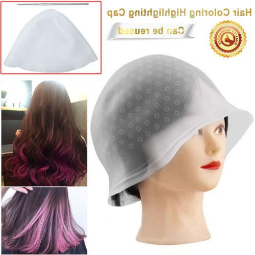 Quality Silicone Dye Hat Cap w/ Hook for Hair Coloring Highl