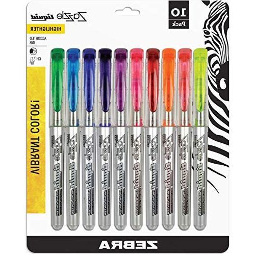 Zebra Liquid Highlighter, Chisel Colors,
