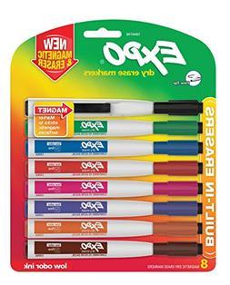 Magnetic Dry Erase Marker, Fine Tip, Assorted, 8/Pack