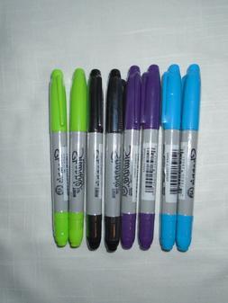 Sharpie Marker Twin Tip Marker-Turquoise,Purple,Black,Lime -