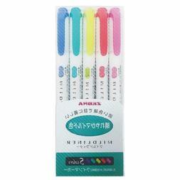 Zebra Mildliner 5 color / Double-Sided Highlighter Marker /