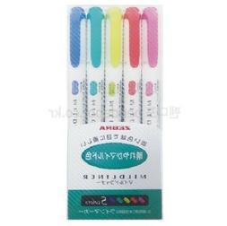 ZEBRA MILDLINER 5 colors x 1 Set Twin Highlighter Marker / W
