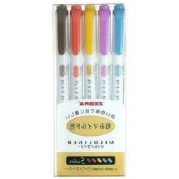 Zebra Mildliner Paint Markers Pen Double Ended 5 Colors High