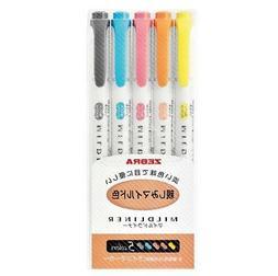 ZEBRA Mildliner Soft Color Double-Sided Highlighter Pen 5Col