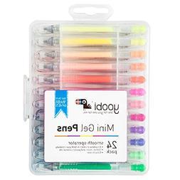 Yoobi Mini Gel Pens in Plastic Case - 24 Pack  Assorted Colo