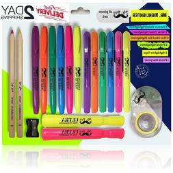 Mr. Pen Dry Highlighter Gel Pack Of 18 Bible No Bleed Highli
