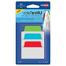 "Avery Multiuse Ultra Tabs, 2"" x 1.5"", 2-Side Writable, Red/B"