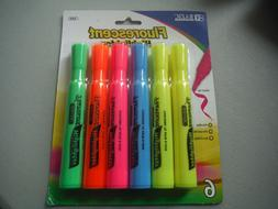 new 6 pack fluorescent highlighters chisel tip