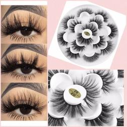7 Pairs Real 3D Mink Makeup Full Wispy Soft False Eyelashes